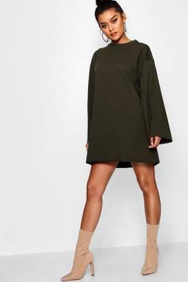 boohoo Wide Sleeve Raw Edge Sweat Dress