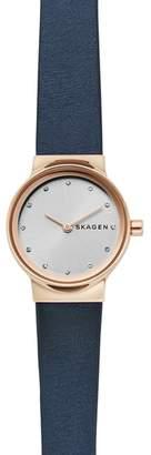 Skagen Freja Crystal Accent Leather Strap Watch, 26mm