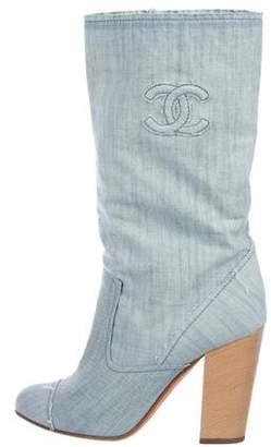 Chanel CC Denim Booties