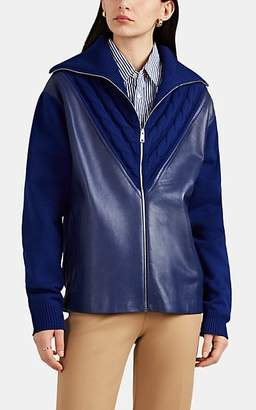 Prada Women's Leather & Knit Cardigan Jacket - Blue