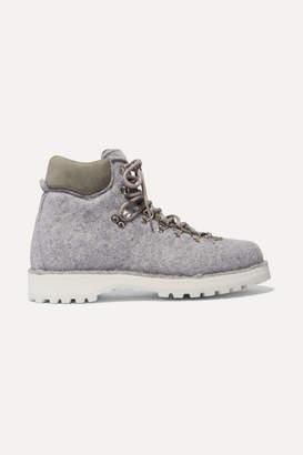 Diemme Roccia Vet Suede-trimmed Felt Ankle Boots - Gray
