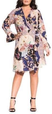 City Chic Plus Grandiose Printed Self-Tie Dress