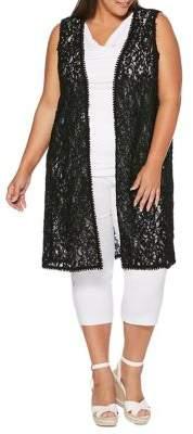 Rafaella Plus Corded Lace Longline Vest