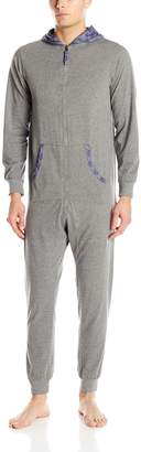 Bottoms Out Men's Knitted Jersey Union Suit with Hood, Heather Grey