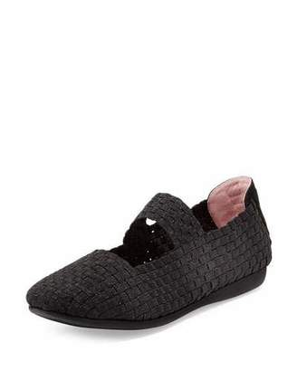 Taryn Rose Bela Woven Mary Jane Flat, Black $135 thestylecure.com