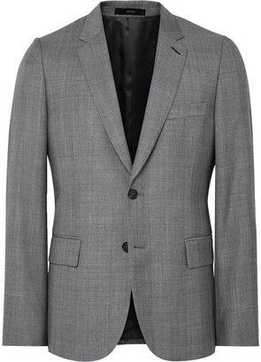 Grey Soho Slim-Fit Checked Wool Suit Jacket $1,040 thestylecure.com