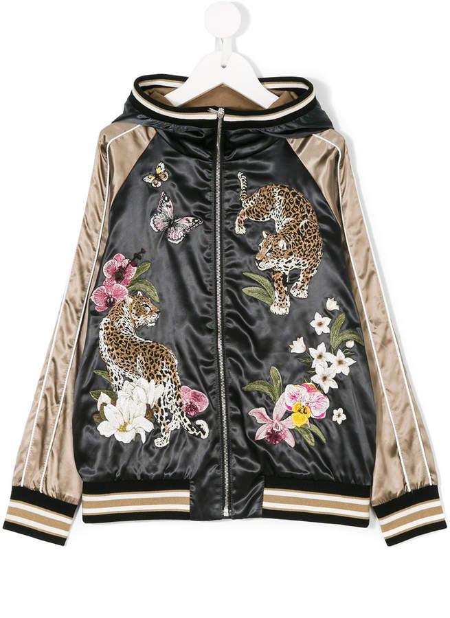 leopard embroidered bomber jacket