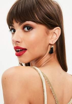 Missguided Black Mini Hoop Tassel Earrings