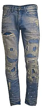 PRPS Men's Mid-Rise Slim-Fit Ripped Stiched Light Wash Patch Jeans