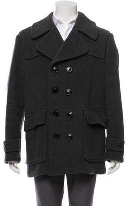 Burberry Wool House Check Lined Peacoat