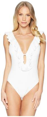 MICHAEL Michael Kors Solids Ruffle Deep V One-Piece w/ Removable Soft Cups Women's Swimsuits One Piece