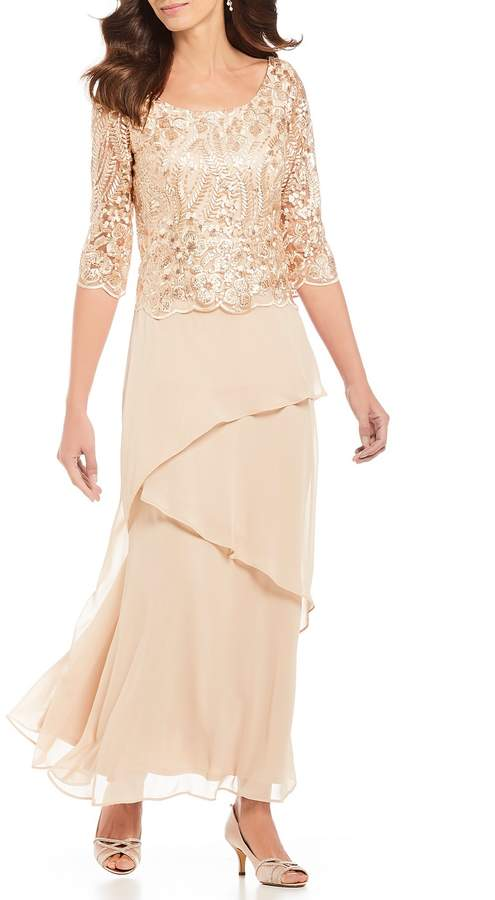 Le Bos Sequin Embroidered Lace Tiered Dress