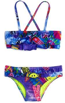 Terez Girls' Tie-Dye-Patches Print 2-Piece Swimsuit - Little Kid, Big Kid