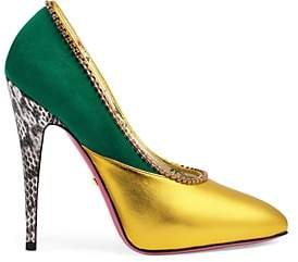 Gucci Women's Peachy Metallic Leather & Suede Pumps - Gold