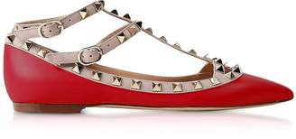 Valentino Rockstud Red Leather Flat Ballerinas
