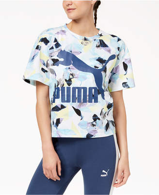 Puma Cotton Printed Logo Cropped T-Shirt