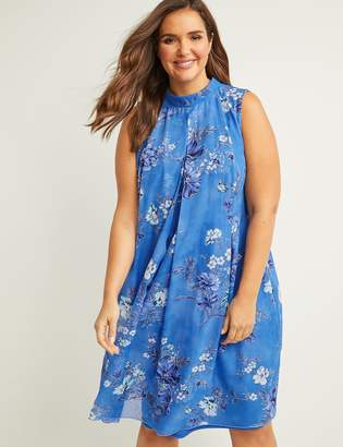Lane Bryant Floral Mock-Neck Swing Dress