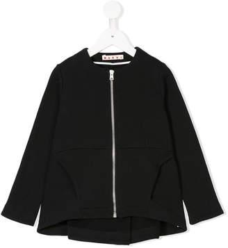 Marni zip front pleated hem blouse