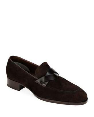 Tom Ford Men's Twisted Strap Suede Loafers