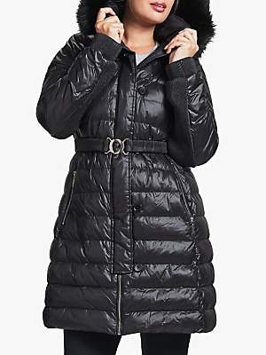 Four Seasons Belted Quilted Coat, Black
