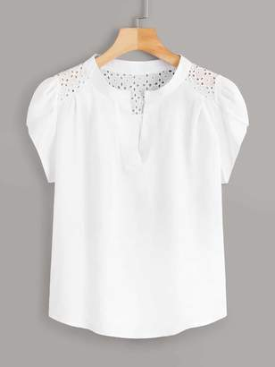 Shein Eyelet Embroidery Petal Sleeve Blouse