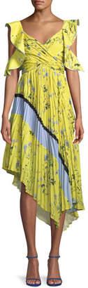Self-Portrait Pleated Asymmetric Floral-Print Cocktail Dress