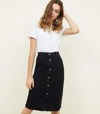 New Look Black Denim Button Up Midi Skirt
