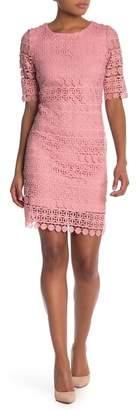 Sandra Darren Crochet Lace Elbow Sleeve Sheath Dress