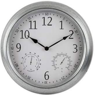 "Backyard Expressions 16"" Metal Weather Monitoring Indoor/Outdoor Clock - Galvanized"