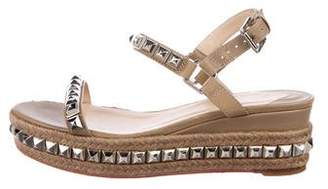 8804567bb15b ... low cost pre owned at therealreal christian louboutin cataclou 60  studded espadrille wedges c33b5 17d4e
