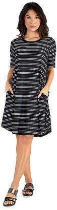 24/7 Comfort Apparel Knee Length Striped Pocket T-Shirt Dress