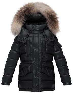 Moncler Hooded Fur-Trim Button-Front Puffer Coat, Black, Size 4-6 $675 thestylecure.com