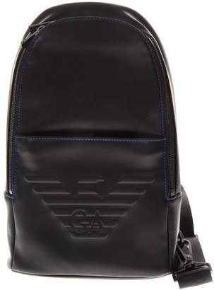 Emporio Armani Black One Shoulder Embossed Eagle Backpack