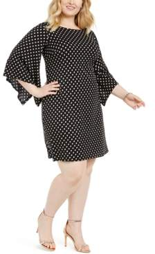 MSK Plus Size Dot-Print Bell-Sleeve Dress
