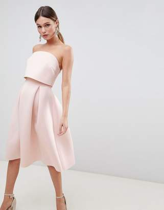 Asos Design Bandeau Crop Top Prom Midi Dress