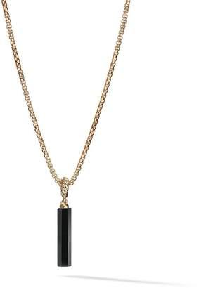 David Yurman 18kt yellow gold Amulets black onyx barrel pendant