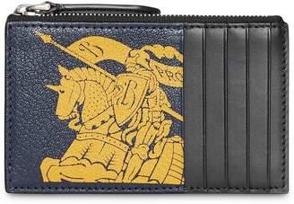 Burberry Logo Print Leather Zip Card Case