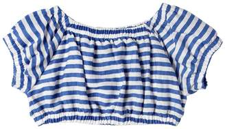 MonnaLisa Striped Linen Blend Crop Top