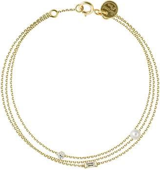 Sweet Pea Baguette & Brilliant Cut Diamonds and White Pearl Bracelet - Yellow Gold