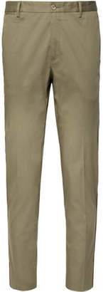 Dolce & Gabbana Tapered Striped Stretch Cotton-Blend Trousers - Men - Mushroom