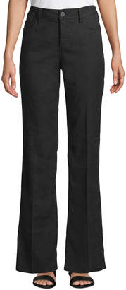 NYDJ Wylie High-Rise Linen Flare Trousers