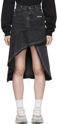 Off-White Off White Grey Ruffles Denim Skirt