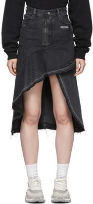 Off-White Grey Ruffles Denim Skirt
