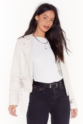 Nasty Gal Womens It'S Now Or Faux Leather Cropped Moto Jacket - Cream - 4