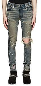 Amiri Men's Broken Paint-Splatter Slim Jeans - Blue