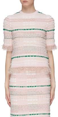 Thom Browne Frayed tartan plaid tweed T-shirt