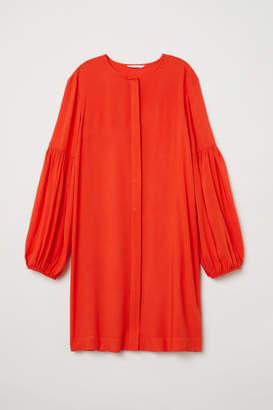 H&M Balloon-sleeved Dress - Orange
