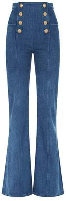 Balmain Button Front Flared Jeans