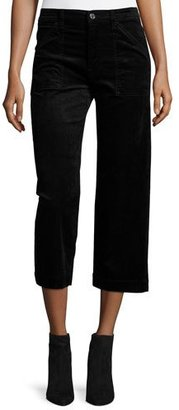 7 For All Mankind Wide-Leg Velvet Culottes, Black $199 thestylecure.com