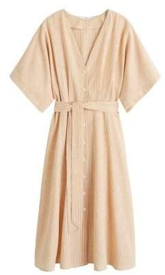 MANGO Bow linen-blend dress